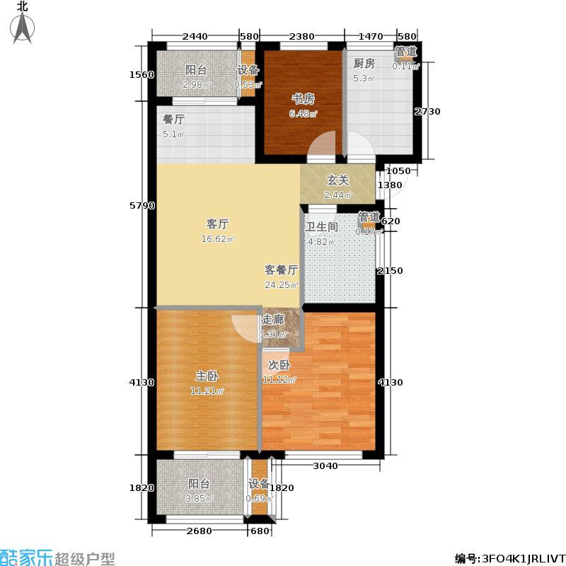 中国铁建国际城88.00㎡户型3室1厅