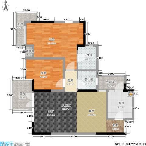 华新都市花园2室0厅2卫1厨98.00㎡户型图