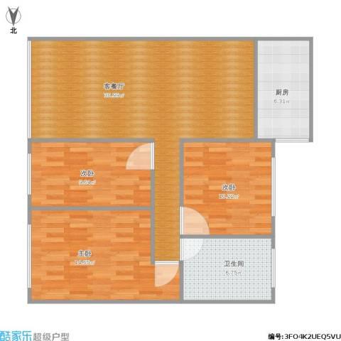 桂香苑3室1厅1卫1厨84.34㎡户型图