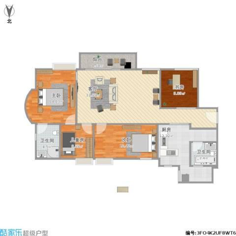 教师新村4室1厅2卫1厨133.00㎡户型图