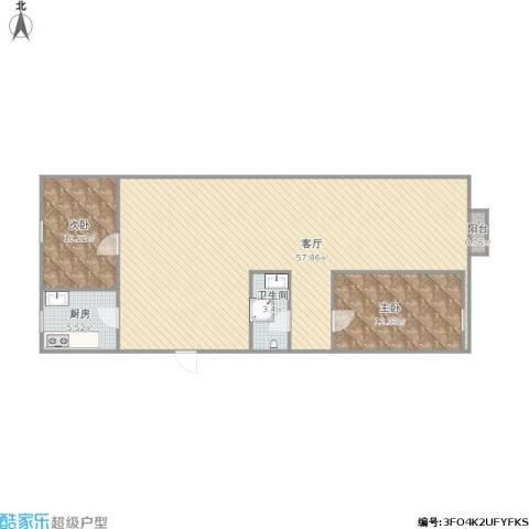 榆垡新城小区2室1厅1卫1厨120.00㎡户型图