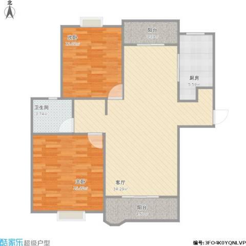 合生杭州湾国际新城2室1厅1卫1厨107.00㎡户型图
