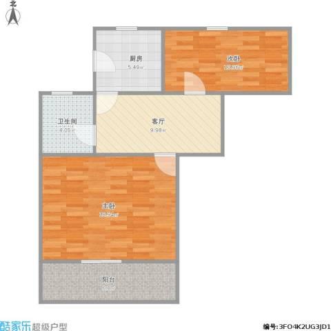 龙柏二村2室1厅1卫1厨75.00㎡户型图