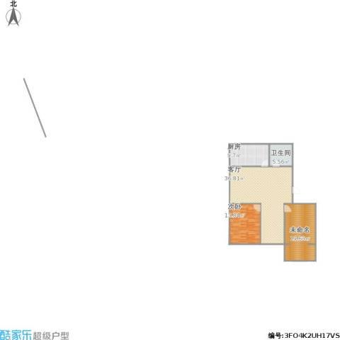 水岸绿城1室1厅1卫1厨114.00㎡户型图