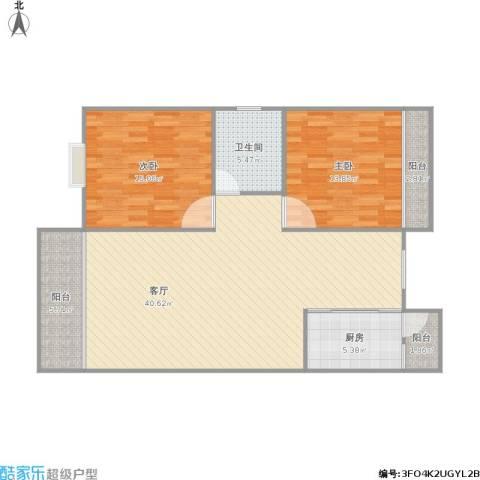 香晖晴园2室1厅1卫1厨122.00㎡户型图