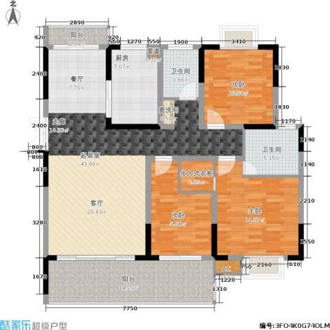 德泽苑3室0厅2卫1厨129.00㎡户型图