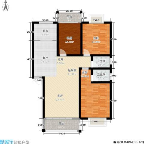 时代名城3室0厅2卫1厨143.00㎡户型图