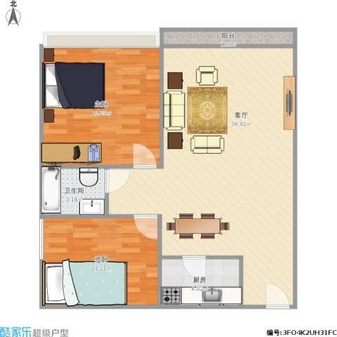 城投・七里香榭2室1厅1卫1厨96.00㎡户型图