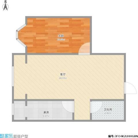 摩卡空间1室1厅1卫1厨58.00㎡户型图