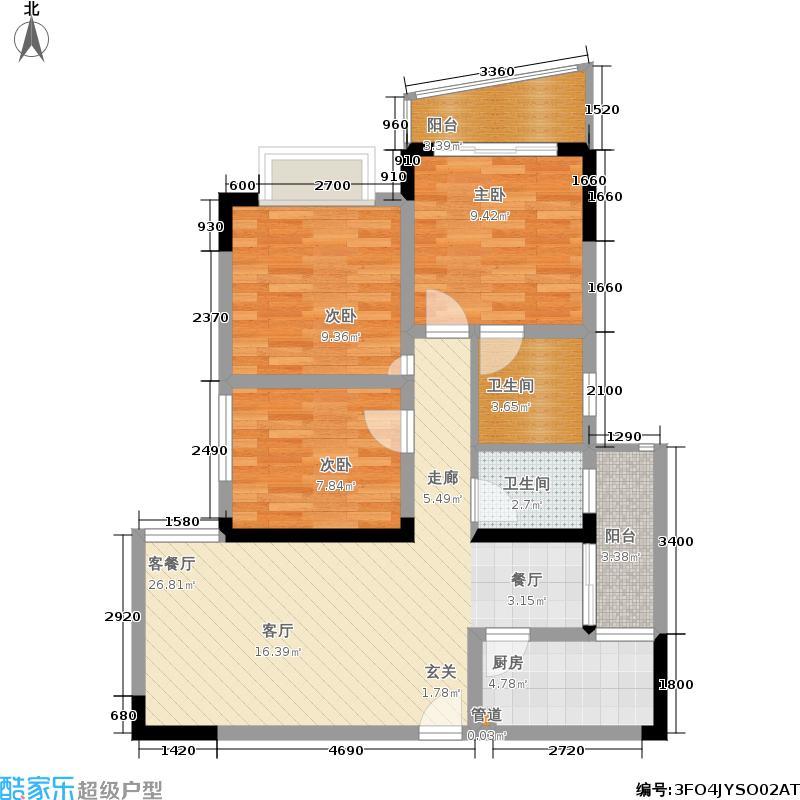 水木香榭78.91㎡1期2/3号楼标准层F户型