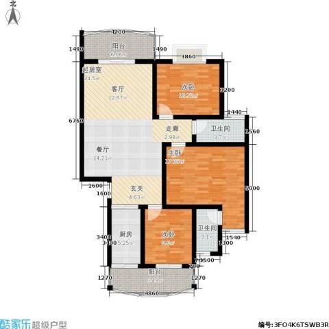 时代名城3室0厅2卫1厨137.00㎡户型图