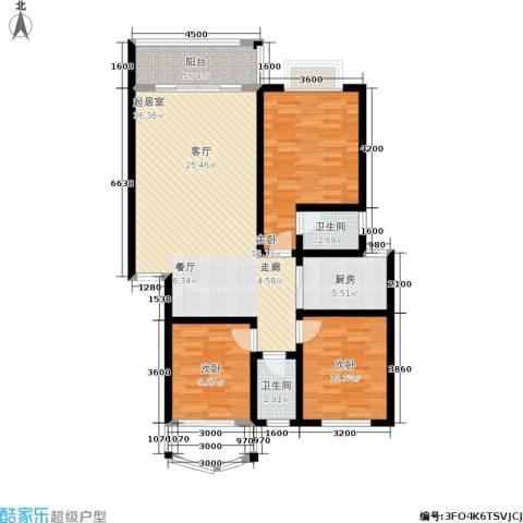 时代名城3室0厅2卫1厨113.00㎡户型图
