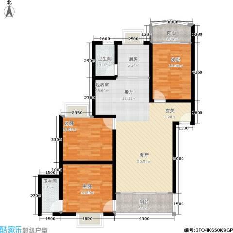 时代名城3室0厅2卫1厨115.00㎡户型图
