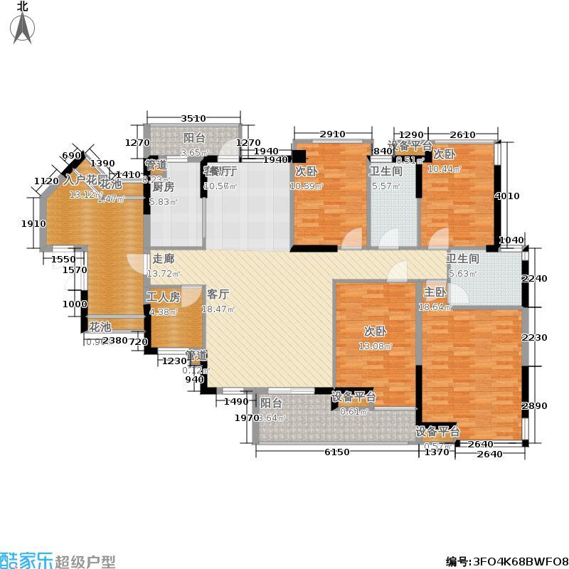 招商澜园户型图1,6,7,8,9栋 B单元(E+F户型) 五房两厅两卫(3/5张)