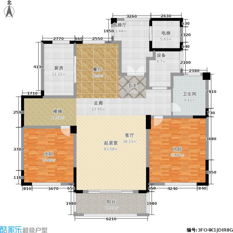 雲锦世家205.00㎡洋房F1-B下层户型2室2厅