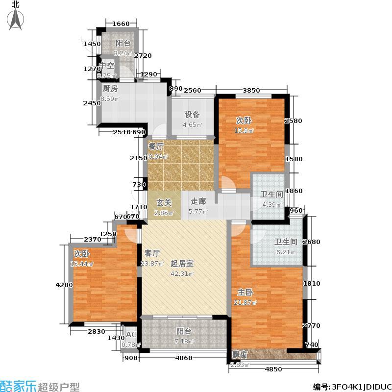 雲锦世家150.00㎡高层标准层B2户型3室2厅