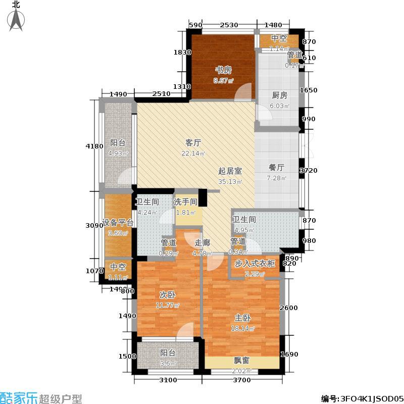 瑞立东方花城135.00㎡135F户型3室2厅