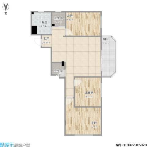 望京花园西区3室1厅2卫1厨100.00㎡户型图