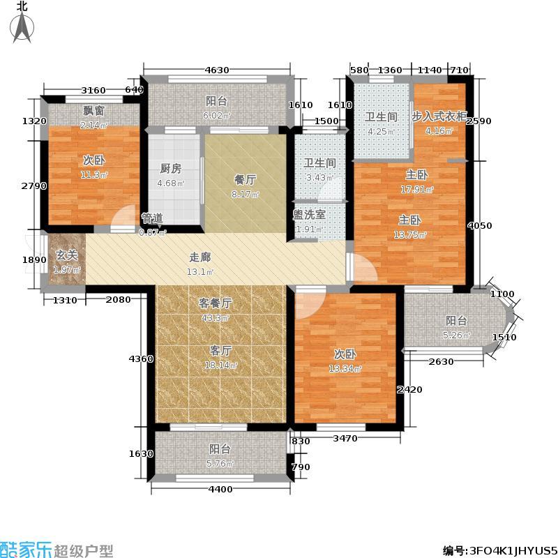 国润城132.34㎡8号楼C1-1户型3室2厅