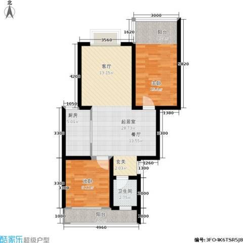 时代名城2室0厅1卫1厨93.00㎡户型图