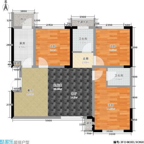 蓝光COCO蜜城3室0厅2卫1厨85.00㎡户型图