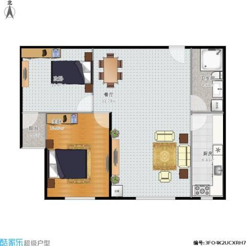开元花半里2室1厅1卫1厨91.00㎡户型图