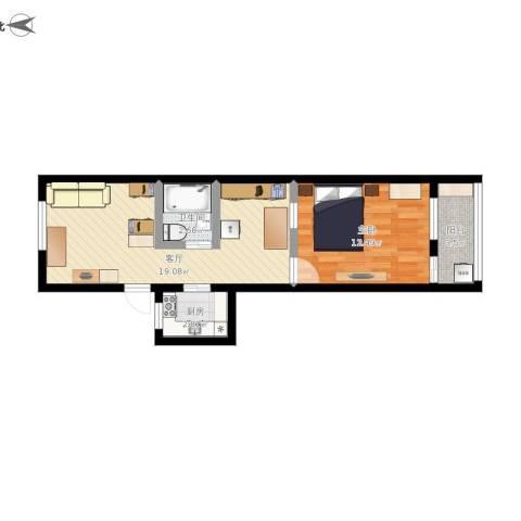 局门路405弄公房1室1厅1卫1厨60.00㎡户型图