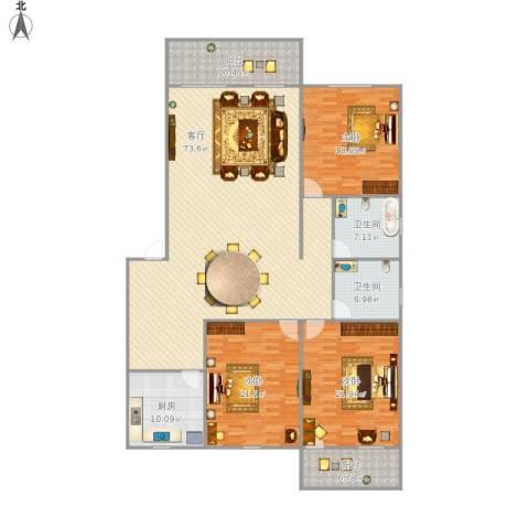 源盛花园3室1厅2卫1厨234.00㎡户型图