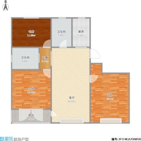 春潮花园3室1厅2卫1厨135.00㎡户型图