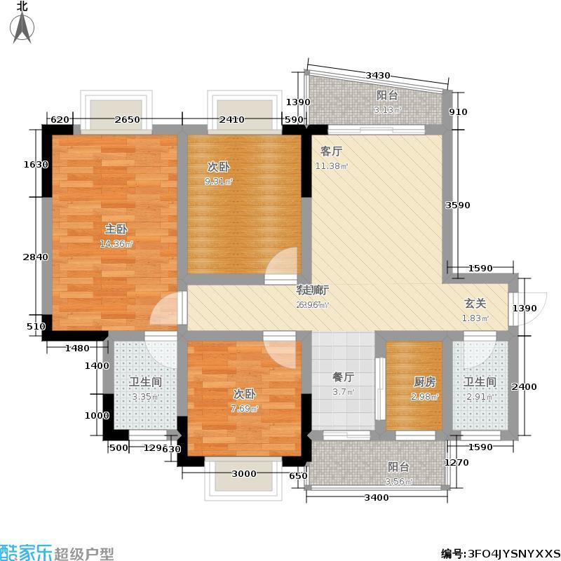 水木香榭87.00㎡1期1/4号楼标准层B户型