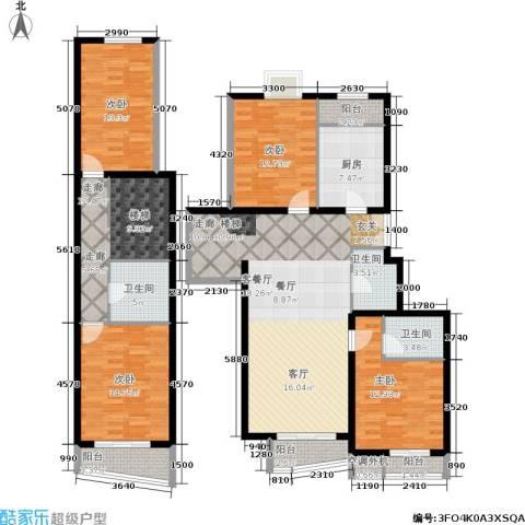 天天家园4室1厅3卫1厨209.00㎡户型图