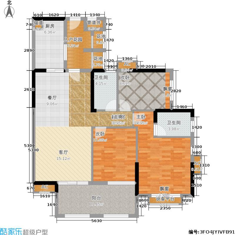 万科云山120.00㎡B3栋01单元3室面积12000m户型