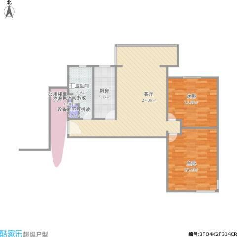 丰台大红门油毡厂地块2室1厅1卫1厨68.54㎡户型图