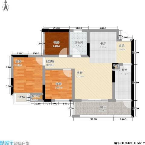 晶山新城际3室0厅1卫1厨93.00㎡户型图