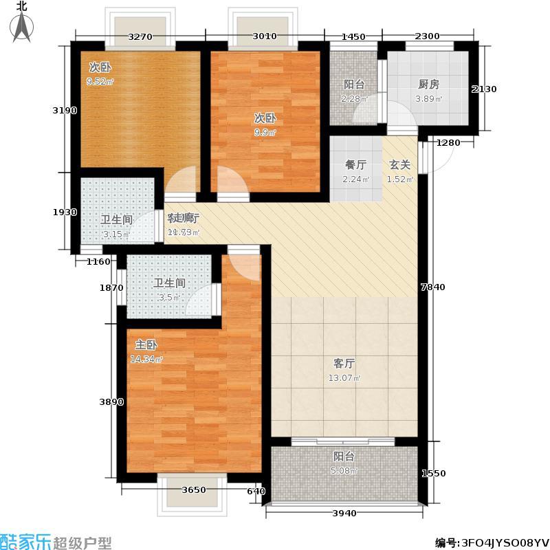 水木香榭87.84㎡1期1/2号楼标准层A户型