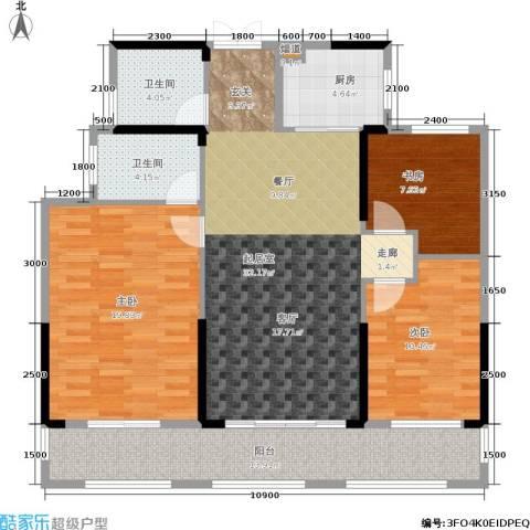 湘水郡3室0厅2卫1厨124.00㎡户型图