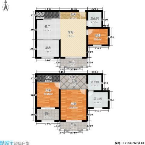 海普苑3室1厅2卫1厨140.00㎡户型图