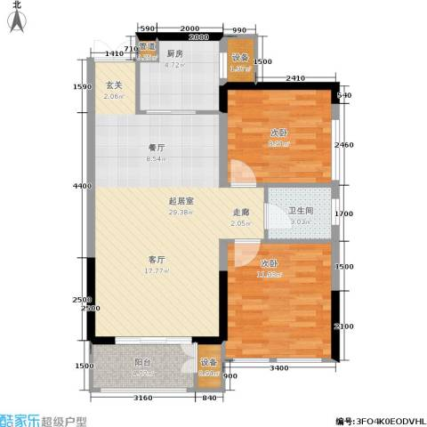 佳美紫郡2室0厅1卫1厨85.00㎡户型图
