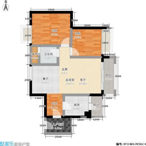金凤豪苑2室0厅1卫1厨80.00㎡户型图