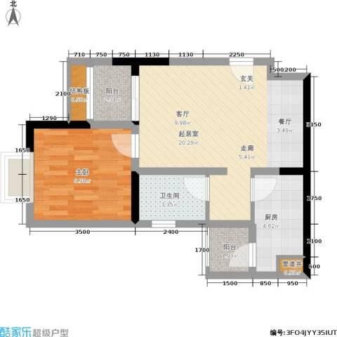 青青雅舍1室0厅1卫1厨65.00㎡户型图
