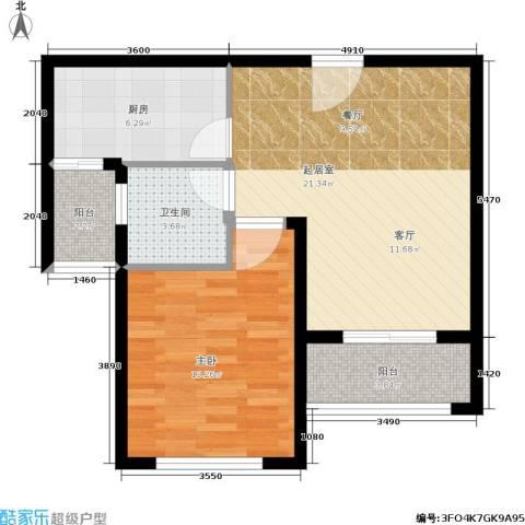 建业森林半岛1室0厅1卫1厨59.00㎡户型图