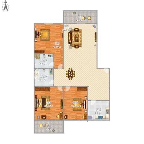 源盛花园3室1厅2卫1厨238.00㎡户型图