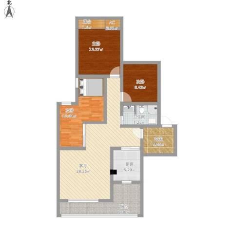 长寿区维多利亚3室1厅1卫1厨130.00㎡户型图