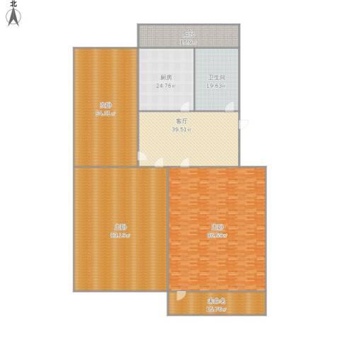 经十一路学区房3室1厅1卫1厨440.00㎡户型图