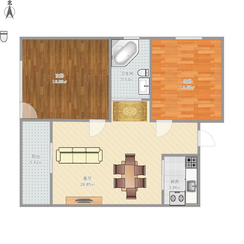 爱情山庄90方A1户型两室两厅