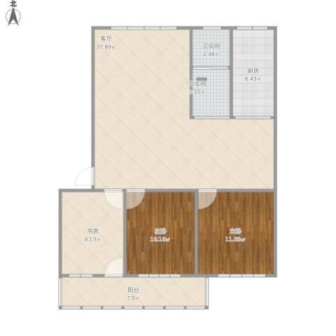 花园小区3室1厅2卫1厨118.00㎡户型图