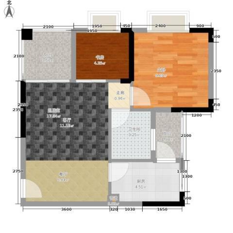 香缇卡纳2室0厅1卫1厨60.00㎡户型图
