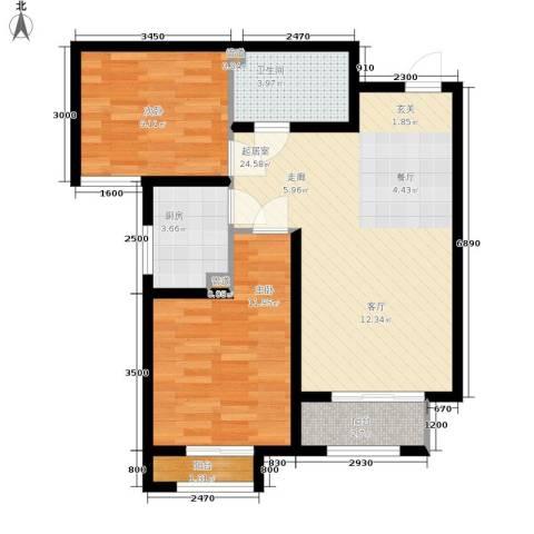 香城俪景二期2室0厅1卫1厨85.00㎡户型图