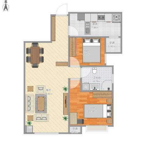奥克斯盛世年华2室1厅1卫1厨112.00㎡户型图