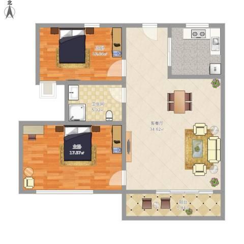 LAKE街区知音国际茶城2室1厅1卫1厨114.00㎡户型图